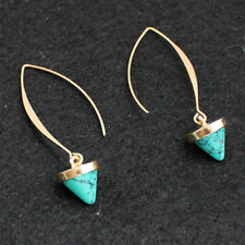 Earrings 9ct Gold Filled Turquoise Hook Drop 63 mm Gift Holiday Summer Wedding