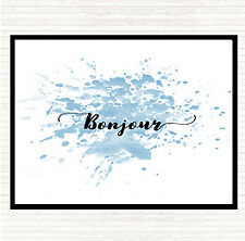Blue White Bonjour Inspirational Quote Dinner Table Placemat