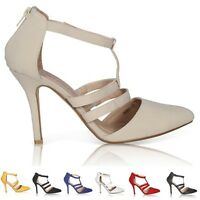 NEW WOMENS LADIES HIGH HEEL POINT TOE STILETTO SANDALS ANKLE STRAP COURT SHOES