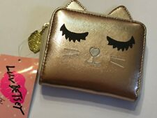 NEW LUV BETSEY JOHNSON ROSE GOLD FOIL CAT MINI WALLET CARD HOLDER LBSASSY $38