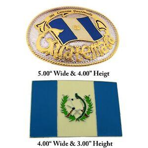2 Pezzi Guatemala Cintura Fibbia Bandiera Paese Campagna Chapines Guatamalan