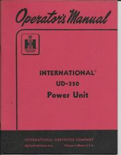 Original 1957 International Harvester OPERATOR'S MANUAL for  UD-350 POWER UNIT