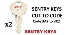 2 x Sentry Safe atto di fuoco sul petto documento Box Chiavi tagliato a codice