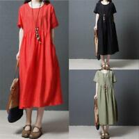 Retro Women Casual Solid Cotton Linen Loose Pockets Tunic Maxi Dress Plus Size