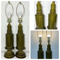 "VTG Mid Century Oversized Avocado Green Ceramic Lamps Pair Working 33"" Tall"