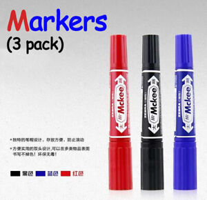 3 x Double End Permanent Markers with Bullet & Chisle Head in BLACK / BLUE /RED
