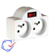 2 Fach Steckdose mit Schalter Schutzkontakt Doppel Buchsen Verteilersteckdose