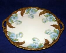Antique ELITE Limoges Blue Flowers Daisies Factory Decorated Cake Plate w Gold