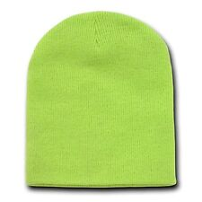 Melon Green 8 Inch Short Knit Beanie Winter Ski Cap Caps Hat Hats Toque Toques