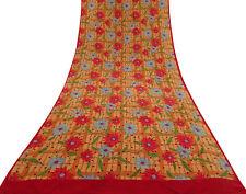 Pure Silk Floral Saree Vintage Indian Fabric Light Orange Craft Sari-PS58753