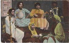 Vintage Egypt Egyptian CHANTEUSES ARABES Colour Postcard 1919