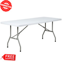 "30"" x 72"" Heavy Duty Granite White Plastic Folding Table Portable Indoor/Outdoor"