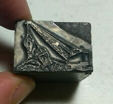 Vintage Letterpress Printing Block Crane Construction Machinery ALL METAL
