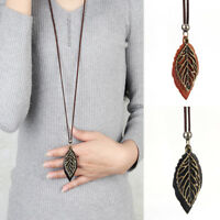 Women Special Leaves Leaf Pendant Necklace PU Leather Long Sweater Chain Jewelry