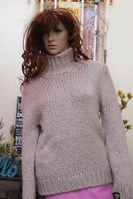Thierry  MUGLER Italy $1100 Taupe & Silver Thread Chunky Knitted Sweater