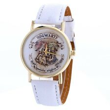New Harry Potter Hogwarts  Gold  Faced Quartz Watch White  Strap