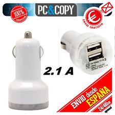 Cargador doble de mechero coche para movil tablet 2.1A-1A dos USB colores 12-24v
