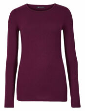 Marks and Spencer Modal Rich Round Neck Long Sleeve Women's T-Shirt - Plum, Size - 6