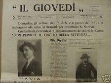 RARO ANTICO GIORNALE PUGLIESE_SALVEMINI_FAVIA_BARI_IL GIOVEDI'_BENEDETTO_1919