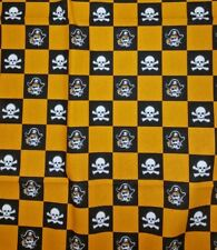 "Pirate Skull Crossbones Black Yellow Orange Canvas Fabric 77.5"" x 57"""
