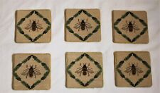 "Honey Bee Cross Stitch Coasters Set of Six (6) Classic Design 4"" x 4"" Guc"