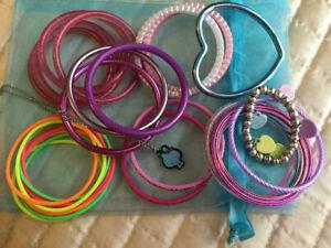 Girls bangle bracelet bundle various colours and styles party bag dress up