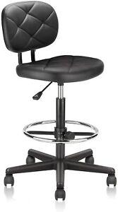 KLASIKA Drafting Rolling Stool Chair Back Support Adjustable Foot Ring Salon