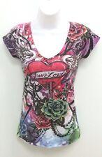 Rue 21 Womens Sz XS T-Shirt Top Short Sleeve Tattoo Lace Up Look Back B273
