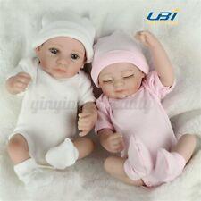 2 PCS 11'' Full Silicone Lifelike Girl&Boy Baby Newborn Dolls Vinyl Reborn Doll