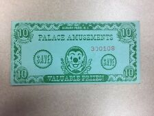 Palace Amusements Asbury Park NJ 10 Point Coupon Arcade Prize Ticket New Jersey