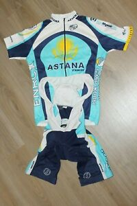 Astana Pro Team UCI Cycling Bike Jersey + Bib Shorts Padded Sets Shirt Size M L