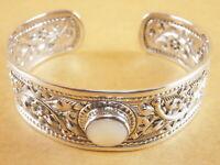 "Flower Thai Style 925 Stering Silver Torque Bangle Bracelet Cuff 7"" - 8"" 27g"