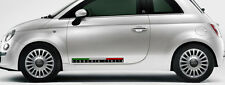 2 X SCUDERIA ITALIA FIAT 500 FOND NOIR STYLE CARBONE 65cmX6cm STICKER SA133
