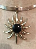 Sterling Silver Vintage 925 Mexico Slider Black Onyx Pendant (20.1) - 806185