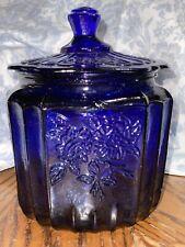 Anchor Hocking Mayfair Open Rose Colbalt Blue Glass Biscuit Jar / Cookie Jar