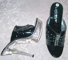 NEW Ladies 8.5 Lucious Black Patent STILETTO HEELS SHOES Rhinestones Clear Heels