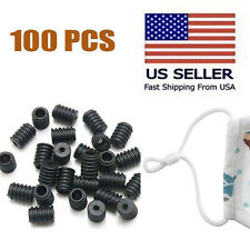 100 PCS Silicone Cord Locks Toggles For Ear Loop Adjuster Buckle Elastic Stopper