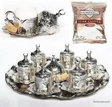 27 Ct Turkish Traditional Coffee Cups Complete Espresso Serving Set SILVER