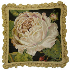 "18"" x 18"" Handmade Wool Needlepoint Petit Point Rose Blanche Pillow with Tassels"