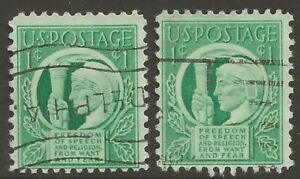 1943 U.S. #908 1¢ 4 Freedoms of Speech & Religion, From Want & Fear ULH F-VF