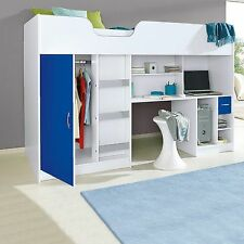 NEW CABIN BED CHILDRENS SINGLE BED HIGH SLEEPER WHITE AND BLUE R140W/BLU