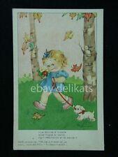 MARIAPIA TOMBA bambina cane nel prato Maria pia vecchia cartolina