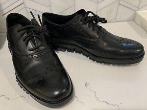 New Cole Haan ZeroGrand Wingtip Leather Oxfords Black C20719 Men's Size 7