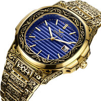 Relojes De Hombre Retro Gold Men's Watch Quartz Casual Waterproof Watches
