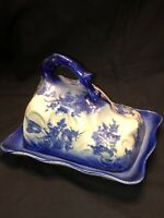 Vintage Ironstone Large Blue and white Cheese Dish with handle