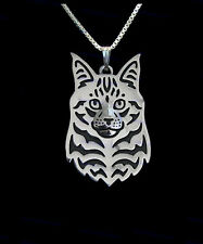 Maine Coon Cat Silver Charm Pendant Necklace, Gifts for Her, Friend Gifts