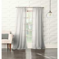 Sheer Gray No. 918 Millennial Laguna Sheer Rod Pocket Curtain Panel, 50 in. W x