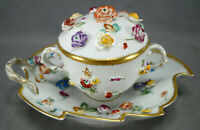 Dresden Thieme Hand Painted Encrusted Flowers & Gold Covered Cup & Leaf Saucer