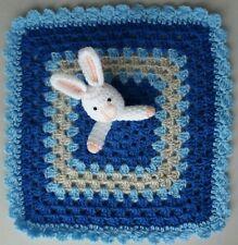 HANDMADE CROCHET BABY BUNNY BLUE,GREY, LIGHT BLUE COMFORTER BLANKET 28cm x28 cm