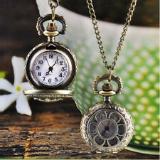 Popular Women Lady Bronze Pendant Chain Necklace Quartz Pocket Watch Retro